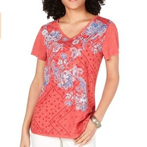 Style&Co Tee Pink Red Blue Paisley Sequin Graphic